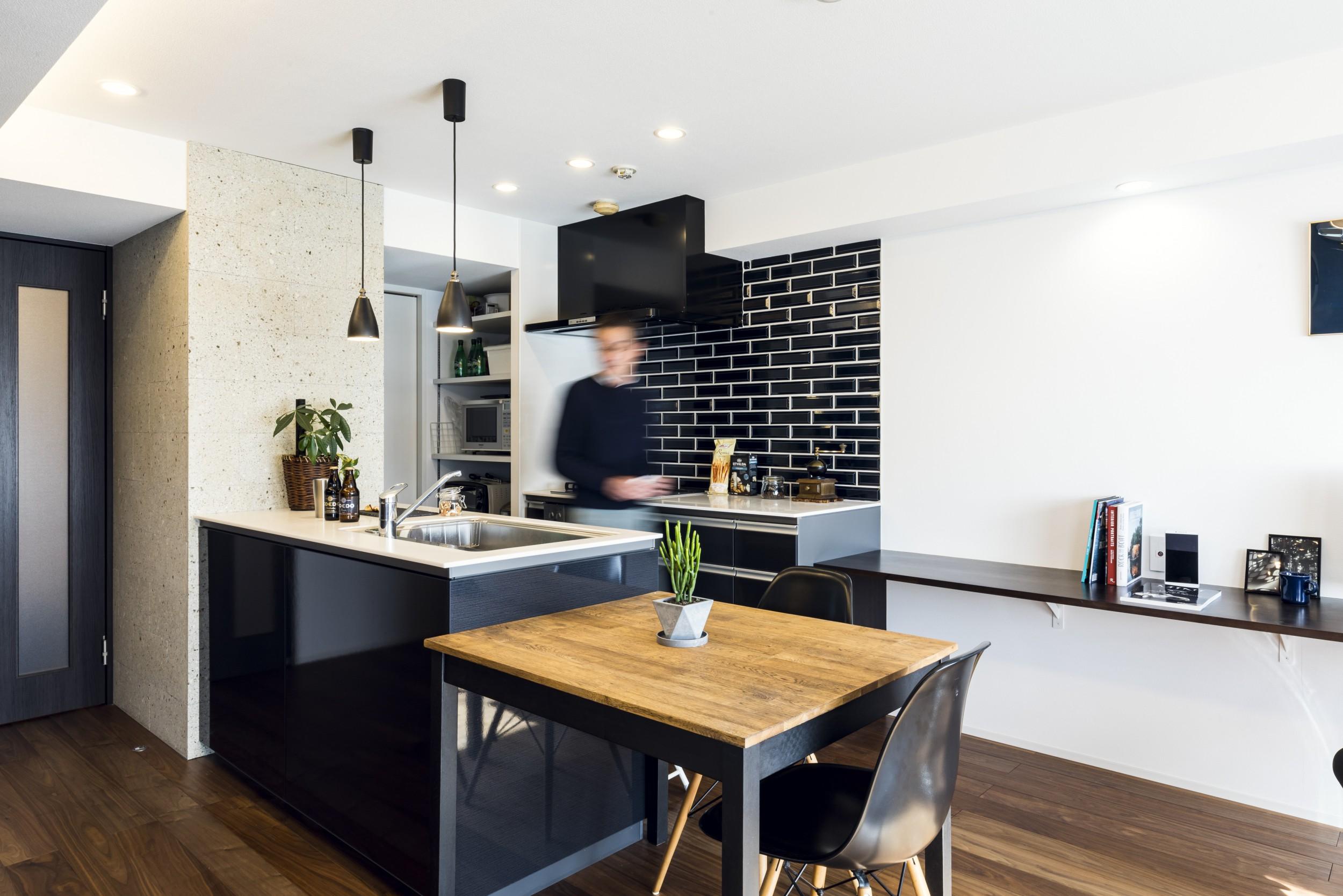 岐阜市の築20年のマンションリノベーション事例のダイニングキッチン
