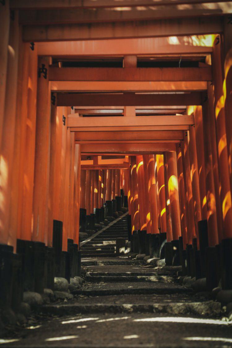 京都の伏見稲荷大社の千本鳥居