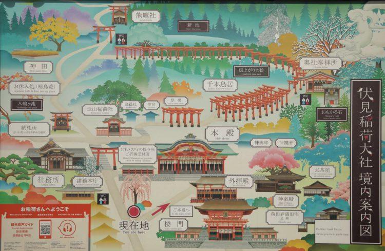 京都の伏見稲荷大社の案内図