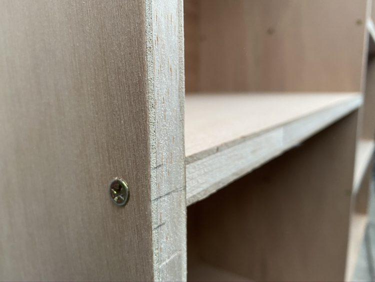 ホームセンターカーマ穂積店でカットした木材を組み立ててやすりをかけたあと