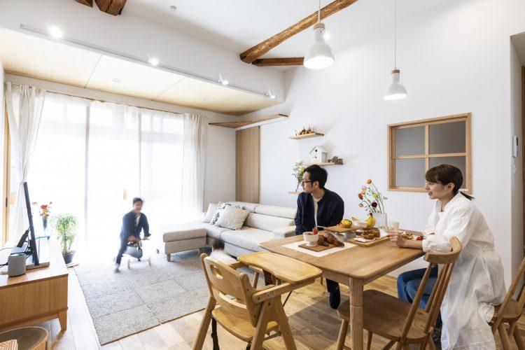 岐阜県垂井町の中古住宅購入リノベーション事例のリビングダイニング